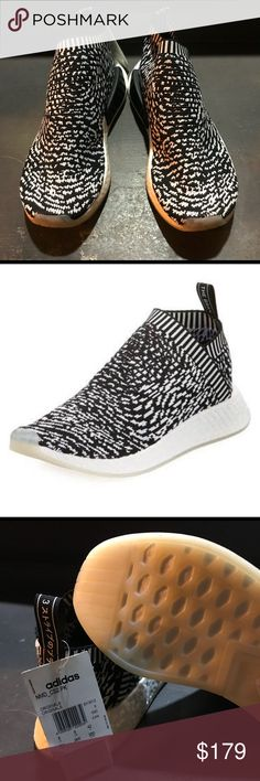 Adidas Originals boost rimeknit sneaker black NEW WITH TAGS Adidas Originals NMD CS2 Primeknit Sneaker in Black and white. NO BOX (it got crushed) but absolutely authentic. Clean with no damage or stains. Orig $200 adidas Shoes Sneakers