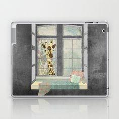 Bay Window Giraffe Laptop & iPad Skin by Aquamarine Studio - $25.00 Giraffe, (Giraffa camelopardalis), (Giraffidae),wild African animal, mammal, ruminant, zoo animal, wild, creature, wildlife, nature, eco-tourism, travel, sightseeing, ecology, environmental, bay window, oriel window, window view, window seat, cushion, pillows, children's décor