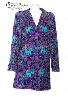 fcc498f437 Purple Gringo Fair Trade Embroidery Elephant Cotton Coat. Hippy FashionCotton  ...