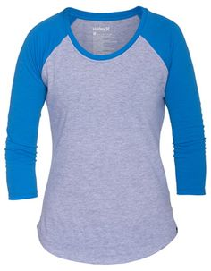 $27 HURLEY Solid Perfect Raglan Womens Baseball Tee in Spirit Blue from Tilly's
