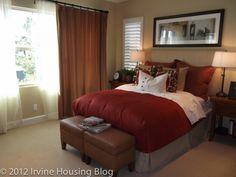 Tan-brown bedroom  It looks like a very comfy room