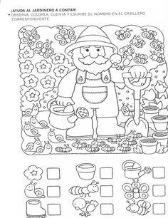 123 Manía: actividades de matemática para imprimir, resolver y colorear - Betiana 1 - Álbuns da web do Picasa Kindergarten Worksheets, Worksheets For Kids, Math Games, Preschool Activities, Hidden Pictures, Math For Kids, Teaching Math, Maths, Pre School