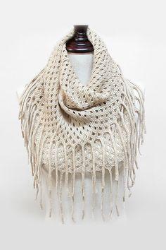 Lattice Knit Infinity Scarf in Latte