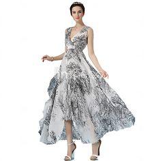 Women's V-neck Sexy/Beach/Casual/Print/Party/Maxi Micro-elastic Sleeveless Maxi Dress (Chiffon) - USD $23.99