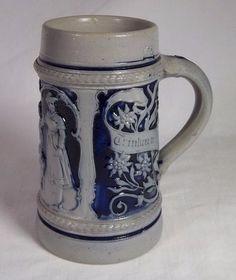 Vintage German BEER STEIN 1/2 Liter - Ceramic w/ Blue Glaze - NO Lid - Germany