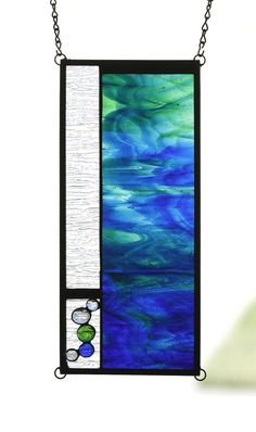 SEASIDE - Abstract Ocean Stained Glass Window Panel, Small Transom or Sidelight with Blues & Greens on Etsy, $72.00