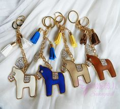 Gemmed Pony with Heart and Tassel Key Chain Free shipping