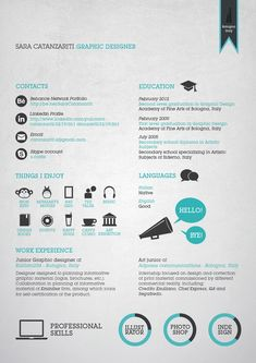 Graphic Resume/ CV by Sara Catanzariti, via Behance