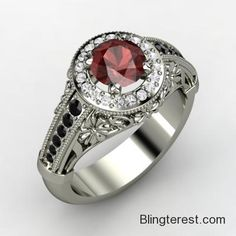 Round Red #Garnet, #Multi-stone, Prong Set #Ring in #Palladium  #Jewelry http://blingterest.com/rings/multi-stone-rings/round-red-garnet-multi-stone-prong-set-ring-in-palladium-3080943-jewelry/