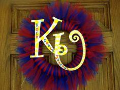 University of Kansas KU Jayhawks tutu tulle wreath on Etsy, $28.00