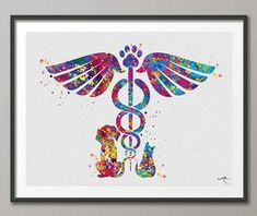 This Veterinary Caduceus Watercolor Print Clinic Wall Art Cat Dog Animal Gift Veterinarian Office Vet Clinic Decor Animal Hospital is just one of the custom, handmade pieces you'll find in our giclée shops. Vet Tech Tattoo, Veterinarian Office, Veterinarian Assistant, Vet Clinics, Clinic Design, Veterinary Medicine, Veterinary Technician, Free Prints, Pet Gifts
