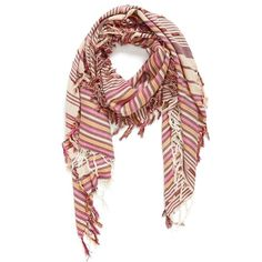 Vince Camuto Multi Stripe Scarf ($15) ❤ liked on Polyvore featuring accessories, scarves, oxblood, striped scarves, fringed shawls, vince camuto scarves, vince camuto and fringe scarves