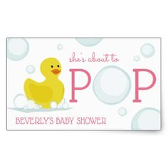 About to Pop Rubber Duck Baby Shower Sticker Pink - baby gifts child new born gift idea diy cyo special unique design
