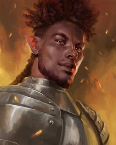 m Half Elf Fighter Plate Armor portrait by Leanna Crossan med Elf Characters, Dungeons And Dragons Characters, Black Characters, Fantasy Characters, Fantasy Portraits, Character Portraits, Fantasy Artwork, Fantasy Character Design, Character Design Inspiration