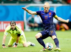 Credit: GUILLAUME HORCAJUELO/EPA Then Robben bags a fifth. That was all about acceleration. He blitzed past Spain's defence, collected the throughball and rounded Casillas with immense composure.