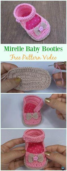 Crochet Mirelle Baby Booties Free Pattern Video - #Crochet Baby #Booties Slippers Free Pattern