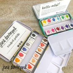 Vivid, beautiful quality watercolors. Paint your Art Journal, canvas, and papers with this petite palette by Jane Davenport. These bright watercolors are perfect to personalize your handmade cards, gift bags and other papercraft projects. They come in a convenient metal case for easy storage.  Details:  Includes assorted colors 12 half pan bright watercolors Conforms to ASTM D-4236