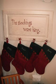 Stocking Hanger made from old cabinet door!! Perfect for those that lack a fireplace! Cabinet Door Crafts, Diy Cabinet Doors, Cupboard Doors, Cabinet Fronts, Christmas Signs, Country Christmas, Christmas Projects, Christmas Fun, Holiday Crafts