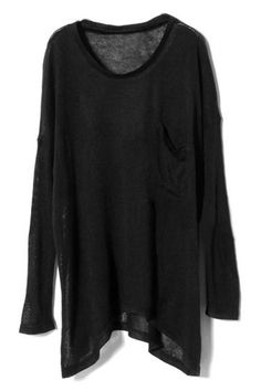 Oversized Single Pocket Embellished Black Jumper