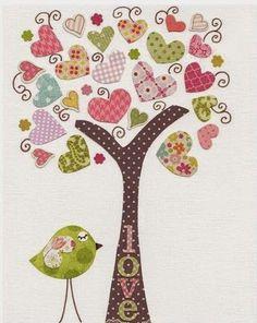 Kids wall art - nursery art prints - baby nursery decor - nursery art - Birds Tree Pink - Tree Of Love print from Paris by GalerieAnais on Etsy, Applique Patterns, Applique Quilts, Applique Designs, Quilt Patterns, Baby Nursery Decor, Nursery Wall Art, Nursery Canvas, Babies Nursery, Nursery Prints