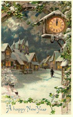 Vintage New Year Postcard Vintage Christmas Images, Old Christmas, Old Fashioned Christmas, Christmas Scenes, Victorian Christmas, Retro Christmas, Christmas Pictures, Christmas Greetings, Vintage Holiday