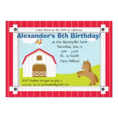"""Farm Birthday Party Invite ~ 7"""" x 5"""" ~ Choose from six paper types ~ High quality, full-color, full-bleed printing on both sides ~ Each invitation comes with a white envelope ~ Additional sizes available ~ $1.60"""