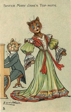 SISTER MARY JANE'S TOP NOTE - Postcard by Louis Wain (1905)