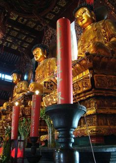 This is the Jade Buddha Temple in Shanghai, China.  There are three large golden statues of Buddha in this hall:  The one in the center is Gautama Buddha, the supreme Buddha.  At left is Amitabha, the Buddha of supreme light.  At right is Bhaisajyaguru, the medicine Buddha.