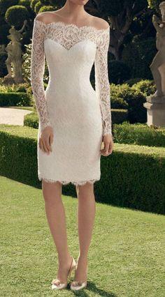Feminine Lace Short Wedding Dress for Summer, Beach Wedding, Outdoor Wedding, Country Wedding, City Hall Wedding