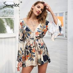 f3b198221ba Womens Lace up floral print jumpsuit romper Sexy hollow out short overalls  casual flare sleeve playsuit