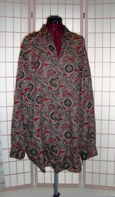 Daniel Cremieux Sz 2XLT Tall Men's Paisley Multi Color 100% Italian Cotton Shirt #DanielCremieux