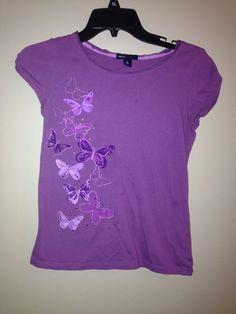 Gap Kids Purple Butterfly Tee Short Sleeve NWOT SZ XL 12 #GapKids #Everyday