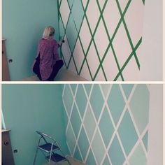 DiY accent wall using painters tape. – Wohnzimmer – – BuzzTMZ DiY accent wall using painters tape. Wall Painting Decor, Wall Decor, Tape Painting, Wall Paintings, Painting Designs On Walls, Room Paint Designs, Wallpaper Designs For Walls, Fabric Painting, Diy Painting