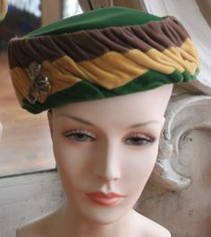 Vintage 1950s Green, Gold, & Brown Velvet Toque Hat with Rhinestone Pin by SweetLittleVillage on Etsy