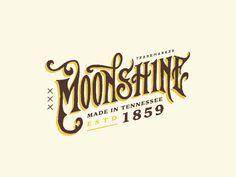 typography // Moonshine by Steve Wolf (Austin, Texas) Typography Love, Vintage Typography, Typography Letters, Typography Inspiration, Logo Design Inspiration, Design Ideas, Spice Logo, Steve Wolf, Whiskey Label