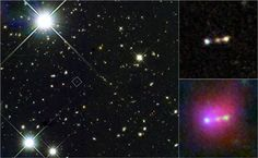Himiko - Infant Galaxies Merging Near 'Cosmic Dawn' - (left) Hubble's Wide Field Camera 3 at 0.98, 1.25 & 1.6 microns (wavelengths of infrared) / blue, green & red respectively - (bottom) composite Hubble (colors combined into green), Subaru Suprime-Cam (blue) & Spitzer Infrared Array Camera (red)