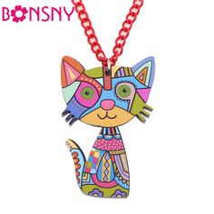 Acrylic Cat Necklace Pendant Chain Collar Choker Pendant Animal Girs s Accessories