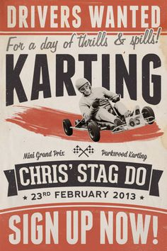 vintage style poster to let my friends know about a karting event I'm organising for my stag do. I know lots of my readers are also big fans of the retro style and I had loads of fun creating the design, so I thought I'd share the process as a tutorial to give an insight into the techniques used. We'll use Photoshop to put together the poster layout with various textures and brushes, but also switch back and forth to Ill