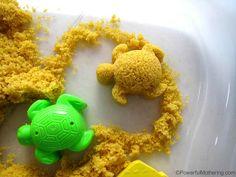 Taste Safe Moon Sand - moldable food-based play sand. Safe for baby, toddler and kids! From Powerful Mothering