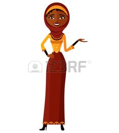Arab muslim woman presenting something cartoon vector illustration. Isolated on a white background.