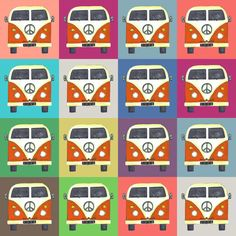 rainbow peace campers fabric by scrummy on Spoonflower - custom fabric
