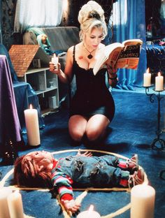 Jennifer Tilly, Bride of Chucky  With her sexy-baby voice, lingerie-style dress, stiletto heels, and long black fingernails, Tilly is totally Goth Barbie in this campy fright fest.