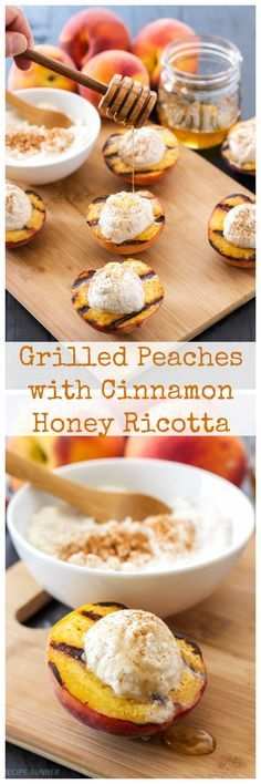 Grilled Peaches With Cinnamon Honey Ricotta This Light And Not Too Sweet Summer Dessert Takes Only Minutes To Make And Tastes So Good Healthy Desserts, Just Desserts, Delicious Desserts, Dessert Recipes, Yummy Food, Ricotta Recipes Healthy, Recipes With Ricotta Cheese, Healthy Summer Snacks, Spanish Desserts