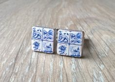 Delft cuff links tile cuff links men accessories men by XTory