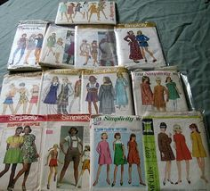 vintage lot of 13 1960's 1970's sewing patterns junior, young jr., jr. petite