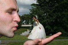 Lustige Hochzeitsfotos Ideen visuell täuschung