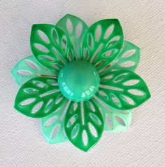 Mint green enamel flower brooch flower power by KarelianStAntiques, $14.00