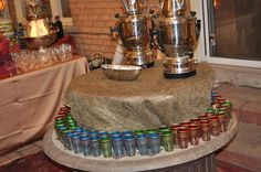 Tea Bar created for a backyard party with samovars and moroccan teacups Moroccan Theme Party, Party Themes, Party Ideas, Teacups, Backyard, Bar, Create, Patio, Backyards
