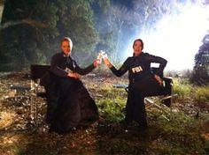 A.J. Cook & Paget Brewster on the set of Criminal Minds.