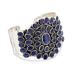 Sapphire Cuff Bracelet In Sterling Silver